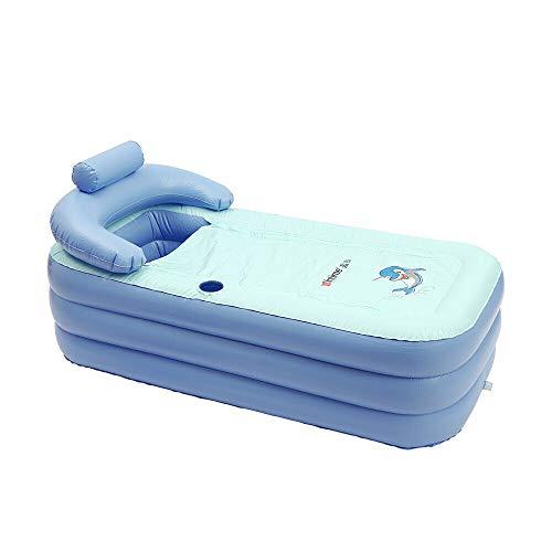 Bañera portátil para adultos, para tomar el sol, de PVC, plegable, para spa, cálida, para la familia (base de algodón, azul)