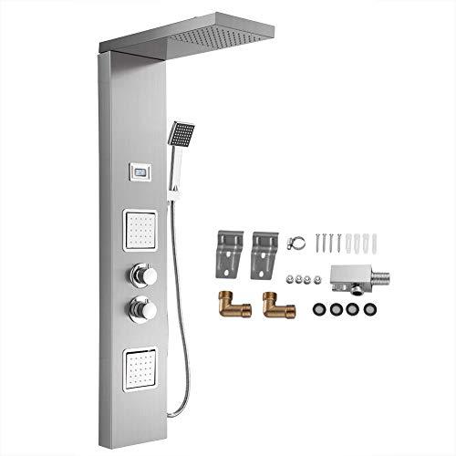 Panel de ducha Panel de ducha duradero ecológico de acero inoxidable 304 Ahorro de agua Grifo de lluvia para baño con pantalla LCD de temperatura del agua