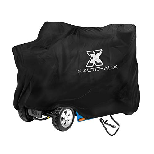 X AUTOHAUX Mobility Scooter Cover Waterproof Outdoor Storage Cover Black Protects from Snow Rain Sun
