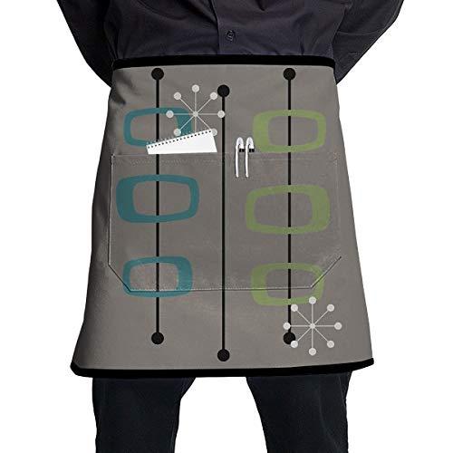 Cavdwa Observe 2 halblange Schürze mit Tasche zum Kochen und Backen, handgefertigt, Gartenarbeit, Grill, 54 x 45 cm