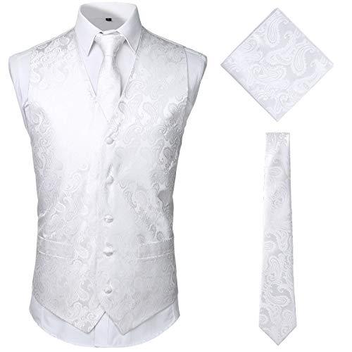 JOGAL Herren Paisley Jacquard Weste Krawatte Einstecktuch Weste Anzug Smoking Set Large Weiß