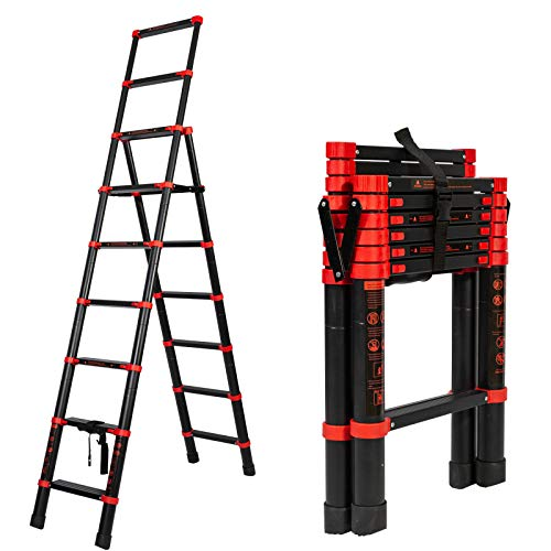 7+9 Multi-Position Extension Telescoping Ladder A-Frame Aluminum Extension Ladder Multi-Purpose Folding Ladder with Hand Rails and Safety-Lock, Anti-Slip Pedal Lightweight Portable (Max 330lbs)