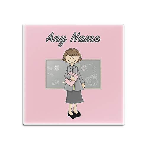 UNIGIFT Glasuntersetzer für Lehrer, Frau, Braunes Haar, personalisierbar, Glas, Rose, Quadrat