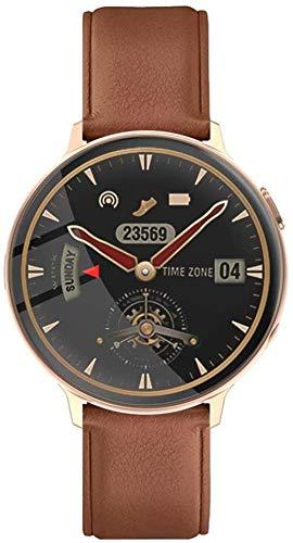 SHIJIAN Reloj inteligente de la pantalla redonda completa 1.3, pulsera inteligente impermeable del bluetooth, con frecuencia cardíaca y presión arterial reloj deportivo de la aptitud marrón
