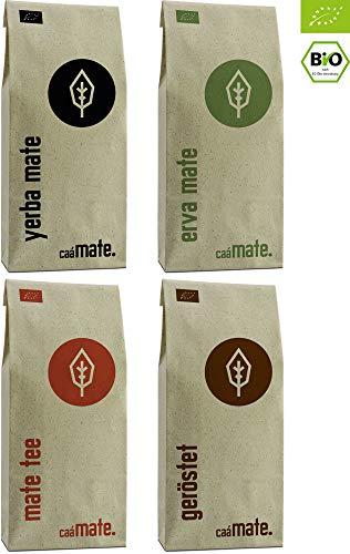 Bio Mate Tee Probierset ● 4 Yerba Matesorten ● je 100g Erva Mate + Yerba Mate + Matetee + gerösteter Mate