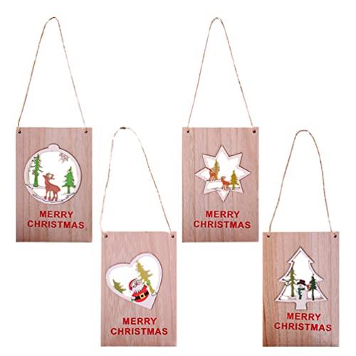 Happyyami 4 Piezas Cartel de Bienvenida de Feliz Navidad Señal Colgante de...