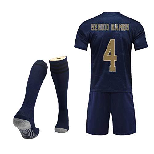 MRRTIME Fußballkleidung für Kinder von 2 bis 14 Jahren, Madri-Fan-Trikot, Kurzarm-Fußballanzug-Trainingsanzug für Heim- und Auswärtsspiele für Kinder von 19 bis 20 Jahren + Fußball-Socken-Green 12-16