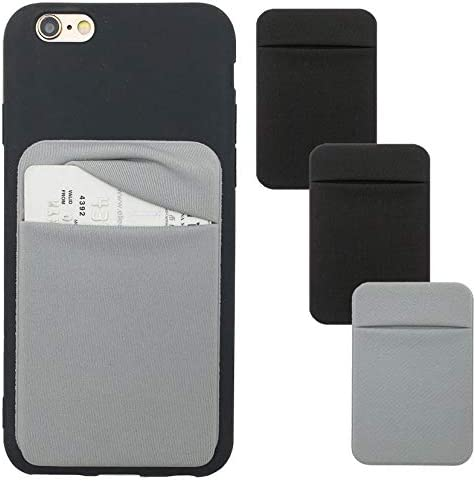3Pack Adhesive Phone Pocket,Cell Phone Stick On Card Wallet,Credit Cards/ID Card Holder(Double Secure) with 3M Sticke...