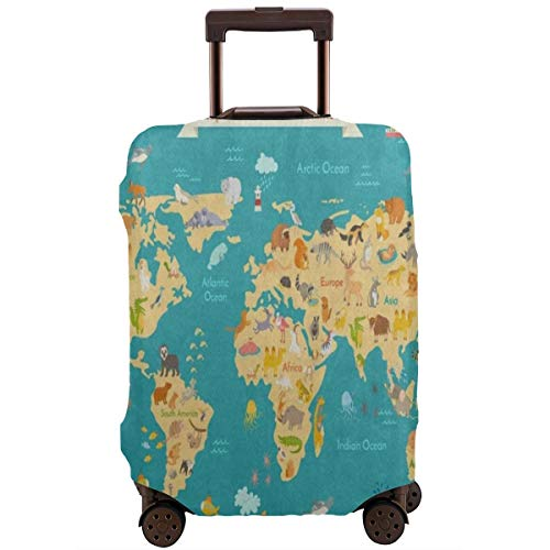 Animal Kids World Maps Travel Luggage Cover DIY Prints Suitcase Protector Suitcase Baggage S Fits 18-21 inch Luggage