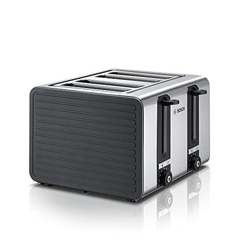 Bosch 4-Schlitz Toaster TAT7S45, integrierter Edelstahl-Brötchenaufsatz, mit Abschaltautomatik, mit Auftaufunktion, perfekt für 4 Scheiben Toast, breit, Liftfunktion, 1800 W, Edelstahl / schwarz
