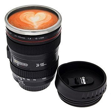 GJSHOP Camera Lens Coffee Mug with Cookie Holder Thermos Stainless Steel Cup Mug Flask Best for Office and Home (Black) …