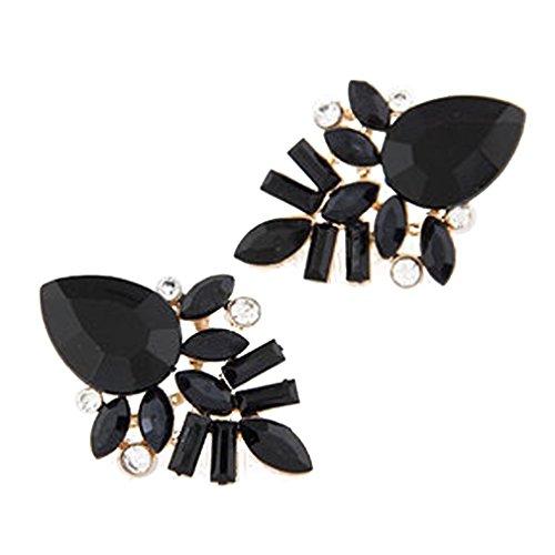 Pendientes de cristal de aleación Yazilind Negro Encanto Waterdrop pescado para la Mujer