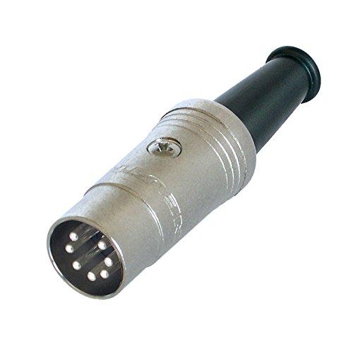 7-poliger DIN-Stecker.Rean NYS323.Silbernes Gehäuse, silberne Pole.