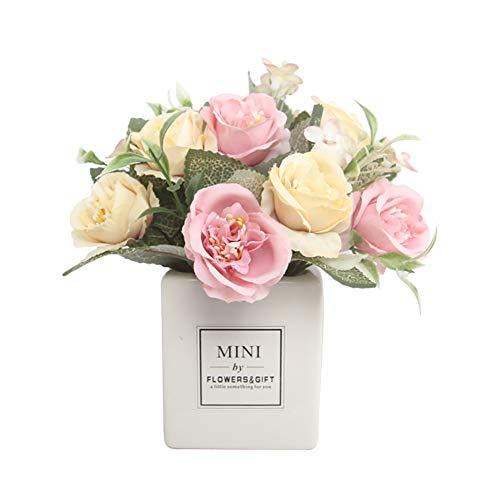 Cratone – Flores artificiales de plástico con jarrón cuadrado de cerámica para decoración de mesa de hogar, oficina o boda, Seda+Cerámica, Morado, 7*7*20cm