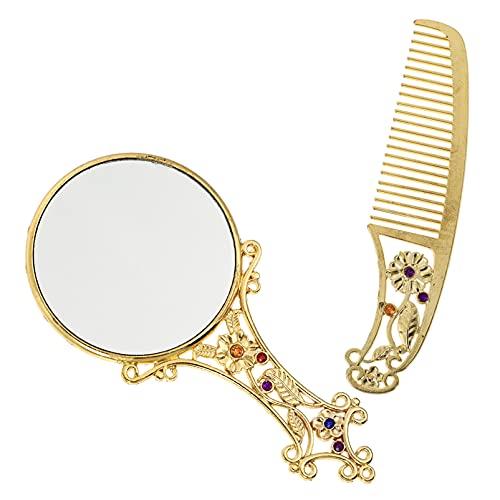 FOMIYES 1 Unidades de Espejo Antiguo Peine Set Vintage Espejo de Mano Espejo de Maquillaje Portátil Espejo de Vanidad Set de Peine para Mujeres y Niñas Dorado