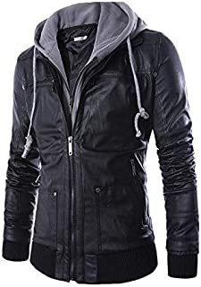 Fashion European and American style men's slim hooded fake two-piece men's motorcycle leather jacket
