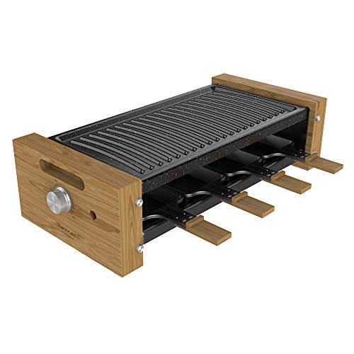 Cecotec Raclette Cheese&Grill 8200 Wood Black. Potencia 1200 W, Superficie Grill, 8 Sartenes individuales, Termostato regulable, Diseño extraíble