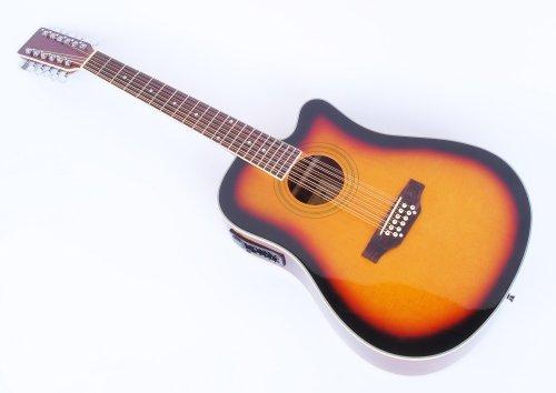 Cherrystone 4260180886139 12 saitige Western-Gitarre mit Tonabnehmer/EQ sunburst
