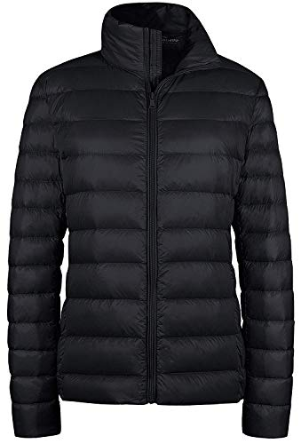 Wantdo Women's Puffy Coat Packable Ultra Light Weight Short Down Coat Black L