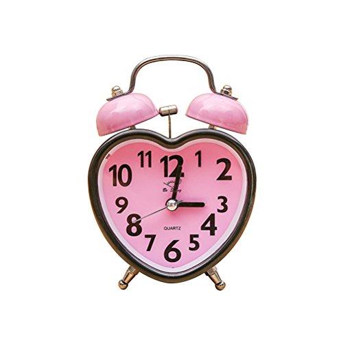 VORCOOL Doppelglockenwecker Herz Wecker Nicht Ticken mit Nachtlicht für Kinder Mädchen Schlafzimmer (Rosa)