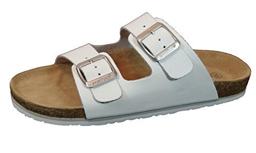 Damen Bio Clogs Tieffußbett Pantoletten Sandalen ECHTES Leder 2 Schnallen Gr. 37 bis 41 Weiß (41)