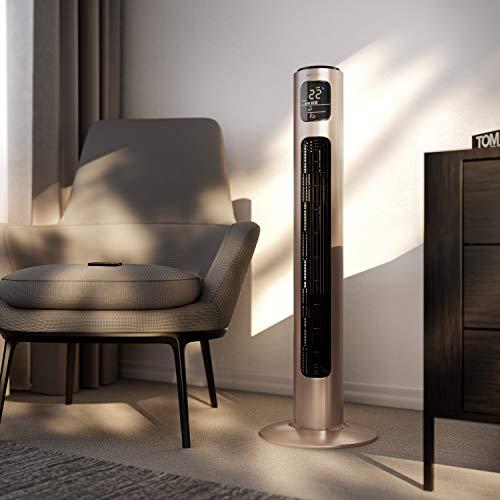 Brandson - Ventilatore a Torre Silenzioso con Telecomando - 45 W - 3 velocità, Timer, 3 modalità Operative, Oscillazione 60°- Display LED – Alto 96cm – Rosa Perla - Nuovo 2020
