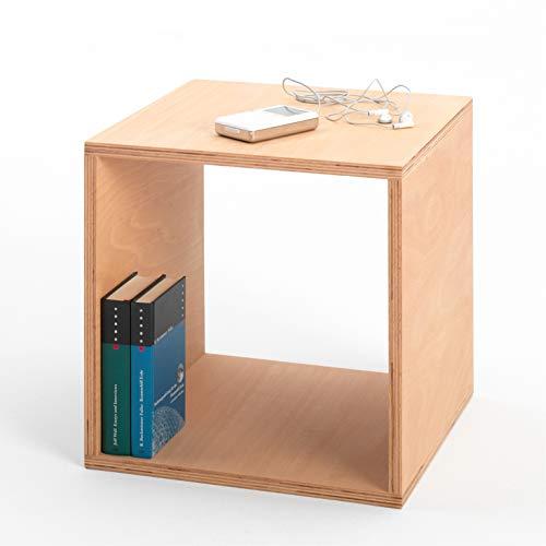 Tojo Cube | Nachttisch | 35 cm x 35 cm x 35 cm | Beistelltisch aus Buche multiplex | Geölte Oberfläche | Eckige Nachtkommode | Nachtkonsole aus Holz in würfelform |