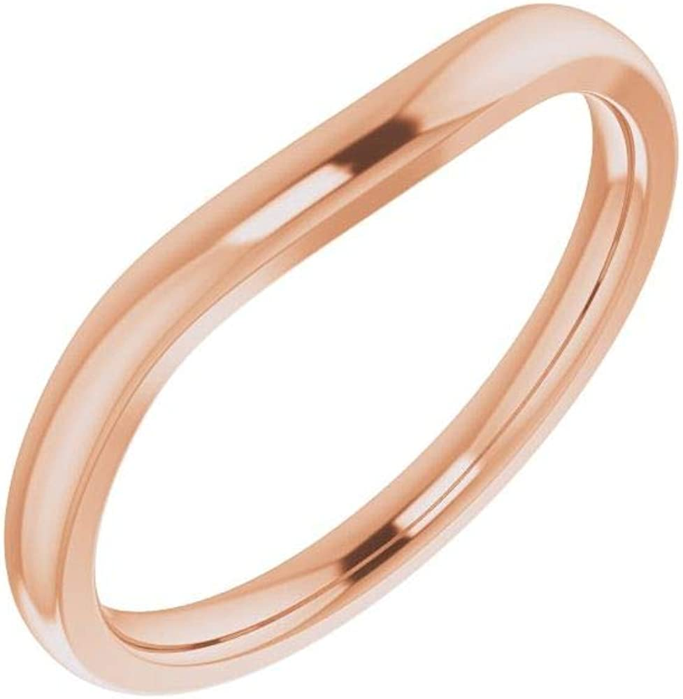 Solid 10k SEAL limited product Rose Gold Matching Curved Notched Charlotte Mall for Band 12m Wedding