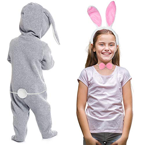 Bunny Rabbit Costume Set - White and Pink Ears, Bow Tie and Tail Accessories Kit for Kids of All Ages
