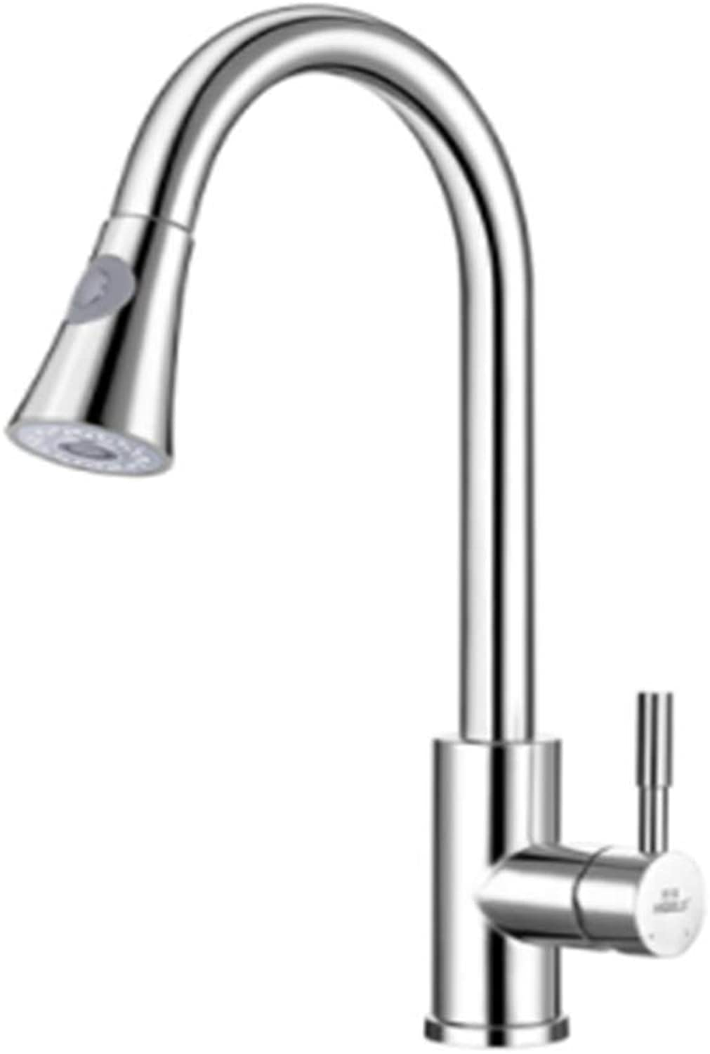 Pull-Out Kitchen Faucet Single Hole Cold and hot Basin Ceramic Valve core Water