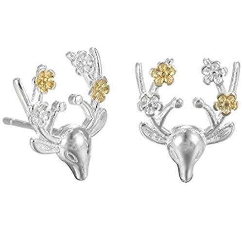 yichahu Abalorio de ciervo kawaii de plata de ley, bonitos encantos de ciervo, dijes de ciervo sika, amuleto de pulsera, adorable colgante de animal, abalorio de ciervo manchado