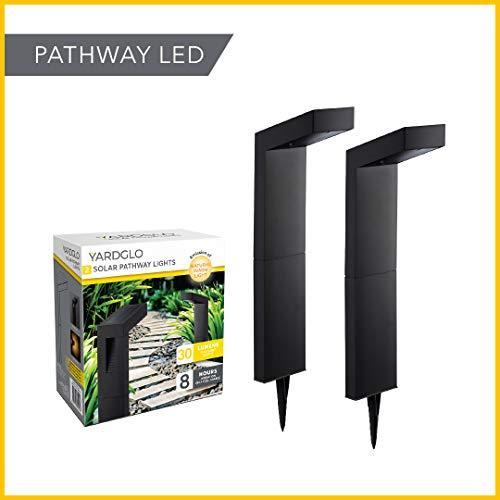 YardGlo Solar Pathway LED Downlight - Outdoor Garden Decorative Lighting for Backyard, Driveway & Lawn, Low Voltage Waterproof Landscape Lamp (2-Pack, Black)