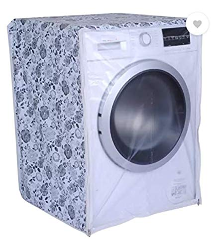 AMAZOR Dust Proof & Water Proof Front Load Washing Machine Cover for LG/Samsung/IFB 5.5 Kg, 6 Kg & 6.5 Kg (50Cmsx63Cmsx81Cms_White,Grey)