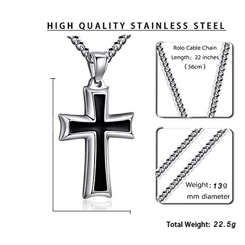 Pendant Necklace For Men, stainless steel Necklace, Baptism Gifts for Adults,Great Gift For Women And Girls, Silver Black Pendant Necklace Come With Gift Box(22inch Chain)