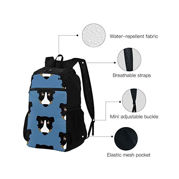 Lesif Mochila plegable ultraligera para senderismo y acampada, para viajes al aire libre, mochila (perro austríaco)