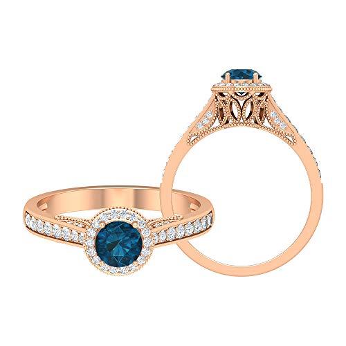 Solitär Halo Ring 0,91 ct rund Edelsteine HI-SI Diamant 5 mm London Blautopas Gold Ring Vintage Seite Stein Ring Kronenfassung Verlobungsring, 14K Roségold, Size:EU 48