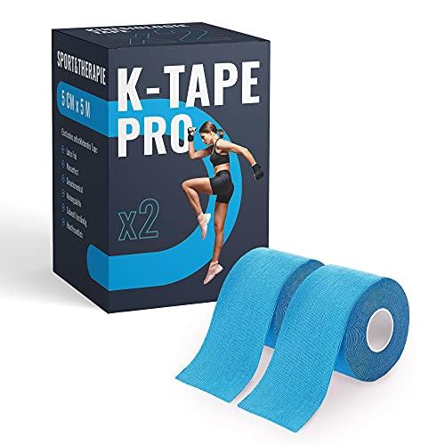 K-Tape Pro - Premium Kinesiologie Tape 5cm x 5m - Wasserfest & Elastisch - Kinesiotapes Set in versch. Farben | Physio Tape | Sport Tape (2er Set, Blau)
