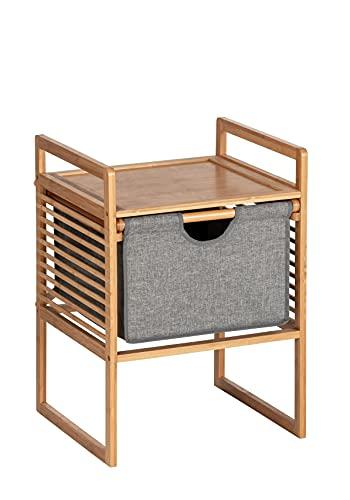 WENKO Beistelltisch mit Schublade Bahari, moderner Nachttisch, Bambus, Natur, 40 x 56 x 40 cm