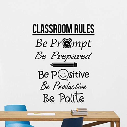 Reglas del aula Etiqueta de la pared Signo Sea positivo Cartel Educación Escuela Cita Maestro Idea Etiqueta Decoración Arte de la pared Mural A2 57x72cm