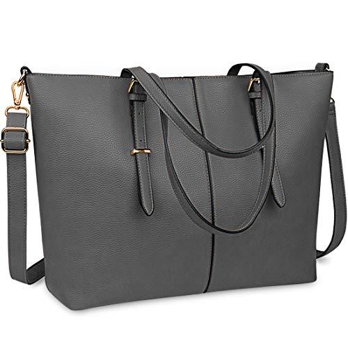 Laptop Damen Handtasche 15,6 Zoll Shopper Handtasche Grau Elegant Leder Taschen Große Leichte Elegant Stilvolle Frauen Handtasche für Business/Schule/Einkauf