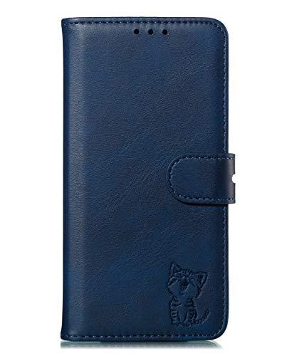 Fatcatparadise Kompatibel mit Motorola Moto G7 Play Hülle + Displayschutz, Prägung Muster Schutzhülle PU Leder Handyhülle Wallet Case Flip Hülle Brieftasche Ledertasche (Blau)