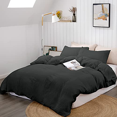 "BEDELITE Duvet Cover King Size, Black Comforter Cover, Soft Hypoallergenic Washed Microfiber Quilt Cover Set, Duvet Cover with Zipper Closure 3 Piece (Duvet Cover King 104""x90""+ 2 Pillow Shams)"