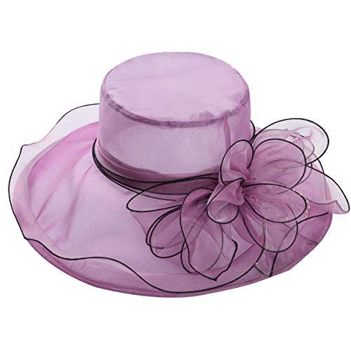 MSemis Sombrero Elegante Pamelas de Boda para Mujer Sombreros Ala Ancha Vintaje Paja Pamela de Organza para Vacaciones Fiesta Verano Iglesia