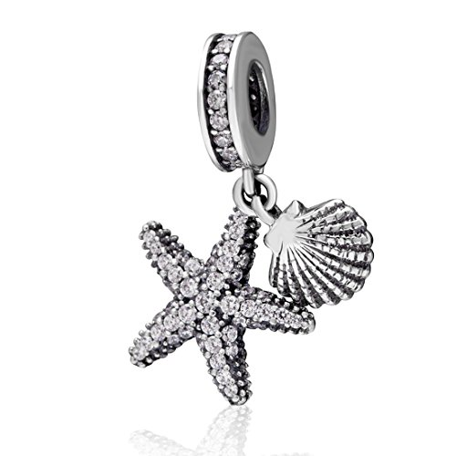 925 Sterling Silver Starfish Charm Shell Charm Ocean Sea Charm Animal Charm Star Charm Anniversary Charm for Pandora Charms Bracelet
