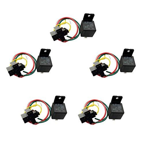 Sharplace 5pcs 40A 24V Relais SPDT Avec Prise de Relais Avec Câblage Accessoire Commutateur Auto Voiture