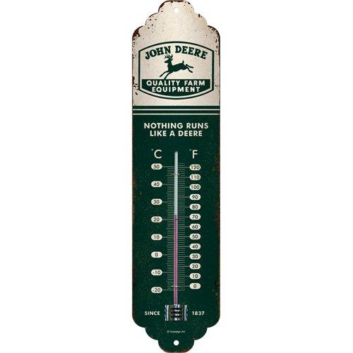 Nostalgic-Art 80315 John Deere – Logo Beige Vert – Idée Cadeau pour Les Fans de Tracteur, en métal, Design Vintage, 6,5 x 28 cm
