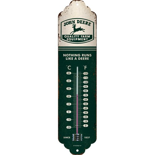 Nostalgic-Art John Deere-Logo Beige Grün, Innen, Wand-Dekoration Retro Thermometer, Metall, 28 x 6.5 x 2 cm
