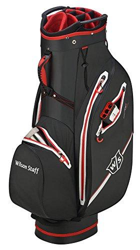Wilson Staff Herren Cartbag, Golftasche mit 14 Fächern, Zur Verwendung mit Cart oder Trolley, Drytech Lite, schwarz/rot, WGB4330RD
