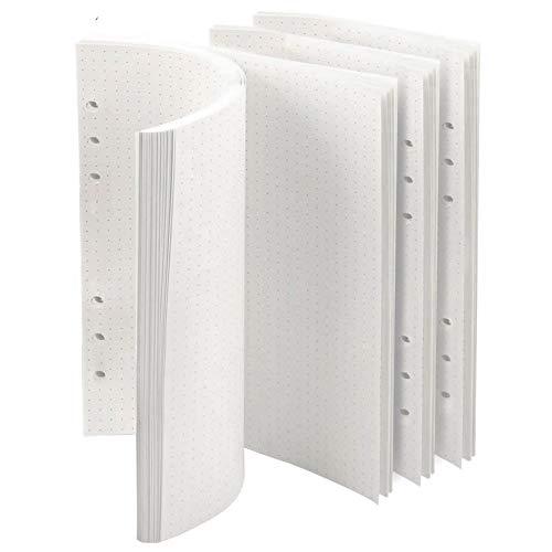 AMAYGA Confezioni di Ricarica di Carta 6 Fori Formato A5 Agenda ad Anelli Refill Paper per A5 Taccuino Diario,4 Pacchi x 45 Fogli a Righe Pagine Bianche 21 x 14 cm