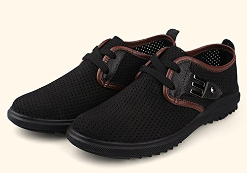 Fansela(TM ) Summer Breathable Punch PU Leather Shoes Size 10.5 Black